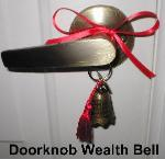 Doorknob Wealth Bell, Bell tassel, front door handle protect front entrance, kwan yin bell, Feng Shui Bells, bell to activate wealth front door, bell to keep money from escaping out doors, feng shui door bells, feng shui doorbells, feng shui bell for door, feng shui money bell for door, feng shui front door