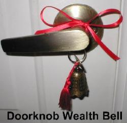 Doorknob Wealth Bell, Bell tassel, front door handle protect front entrance, kwan yin bell, Feng Shui Bells, bell to activate wealth front door, bell to keep money from escaping out doors, feng shui door bells, feng shui doorbells, feng shui bell for door, feng shui money bell for door