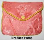 Brocade Purse, Chinese Brocade Purse, floral Brocade Purse, Brocade Purse with zipper and snap, Feng Shui Coins, Chinese Coins