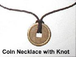 Chinese Coin Cord Necklace with Knot, Feng Shui Coin Jewelry, chinese coin jewelry, chinese coin charm, chinese coin necklace, I-Ching coin jewelry, I-Ching coin Jewellery, Feng Shui Money Jewelry