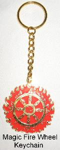 Magic Fire Wheel Key Chain, Dharmachakra, Wheel of Dharma, wheel of Law, Double Ring Magic Fire Wheel Amulet, Flaming Magic Wheel Plaque, Magic Fire Wheel, protection against spirit harm, protection from the negative thoughts of others, Protection from black magic, feng shui lawsuit, feng shui legal protection, magic firewheel keychain, Dharma Wheel, Buddhism Symbols