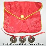 Lucky Fortune Gift with Brocade Purse, Lucky Fortune Gift, Brocade Purse, Chinese coins Feng Shui, Feng Shui Coins, Chinese Coins, Chinese New Year Gift, Traditional Chinese New Year Gift, Feng Shui Chinese New Year Gifts, Chinese New Year Gifts