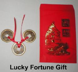 Lucky Fortune Gift, Hong Bao, Ang Pao, Lai See, red envelope, feng shui red envelope, chinese red envelope, chinese coin, three chinese coins, chinese coins tied together on red ribbon, Feng Shui coins tied together, three coins and envelope, Chinese wedding gift, Chinese New Year gift, round square hole in center, coin square hole in center, Feng Shui Coins, Chinese Coins