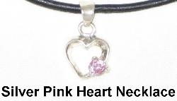 Sterling Silver Pink Heart Necklace, pink cubic zirconia heart necklace, Feng Shui Jewelry, Feng Shui Love Jewelry